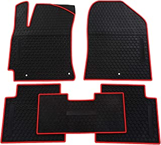 biosp Car Floor Mats for Hyundai Elantra 2017 2018 2019 Front And Rear Heavy Duty Rubber Liner Set Black Red Vehicle Carpet Custom Fit-All Weather Guard Odorless