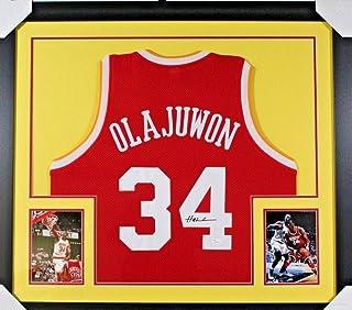 55e4c9cd5 Hakeem Olajuwon Autographed Signed 31X35 Custom Framed Jersey Memorabilia  JSA 5519
