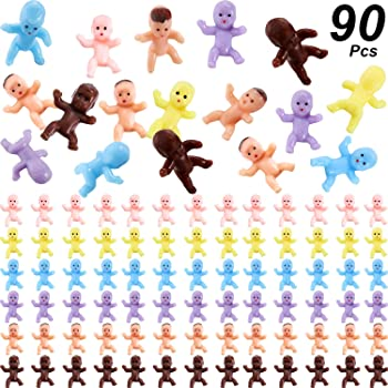 URATOT 200 Pieces 1 Inch Mini Plastic Babies Plastic Baby Toy for My Water Broke Baby Shower Game Baby Shower Party Favor Supplies