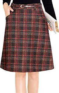 Women's Vintage Plaid A-Line Wool Blend Strecthy Office Midi Pencil Skirt with Pockets