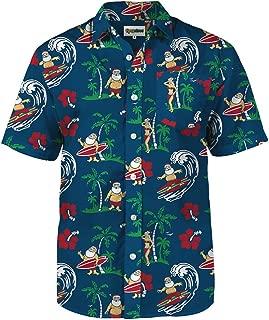 Tipsy Elves Men's Surf's Up Santa Ugly Christmas Hawaiian Button Down Shirt - Hawaiian Christmas Shirt