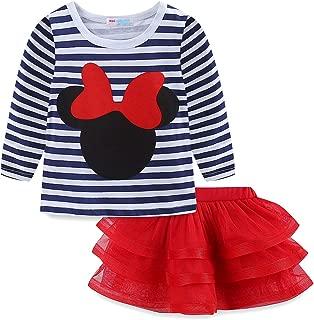 Toddler Girls' Cartoon Cute Set T-Shirt and Tutu Skirt Outfit