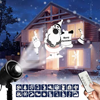 Christmas LED Projector Lights Outdoor - 3D Rotating Projection Light with Christmas Trees Santa Claus Stars Snowflake Snowman Pattern, Waterproof with Remote for Outdoor Holiday Decoration Show