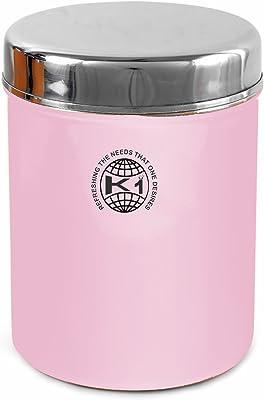 King International Stainless Steel Food Storage Storage Box, 13 cm, 1000 ml, Light Pink