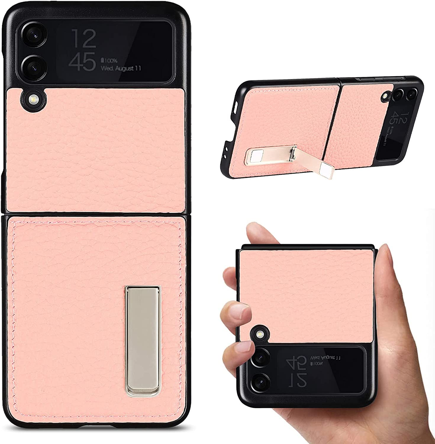 YXE Samsung Galaxy Z Flip 3 5G (2021 Realese) Case,[Genuine Leather] [Full Body Protection] [Dropproof] [Kickstand] Protective Case with Kickstand for Samsung Galaxy Z Flip 3 5G -Rose Gold