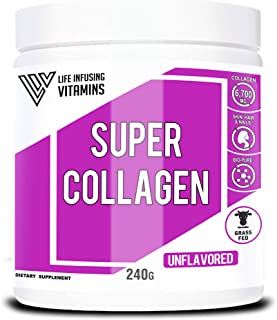 Super Collagen, Collagen Plus Biotin and Vitamins, Grass Fed, Pasture-Raised, Non-GMO, Joint Bone Support, Glowing Skin, Strong Hair and Nails, Gluten-Free, Made in USA