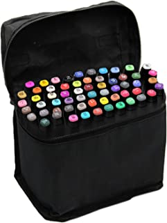 Beetest Rotuladores,Prismacolor<60 PCS >Pintura Arte gráfico Twin Nib Alcohol A Base de Tinta Pen Marker Point Pen Set con Bolsa de Almacenamiento Negro