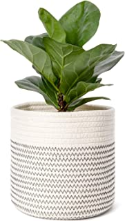 Mkono Cotton Rope Plant Basket Modern Table Desktop Indoor Planter Up to 7 Inch Flower Pot Woven Storage Organizer with Handles Home Decor, 8
