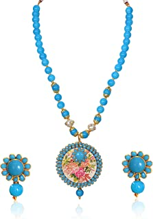 Sansar India Glass Beads Pachi Pendant Necklace Earrings Set for Girls and Women, Blue