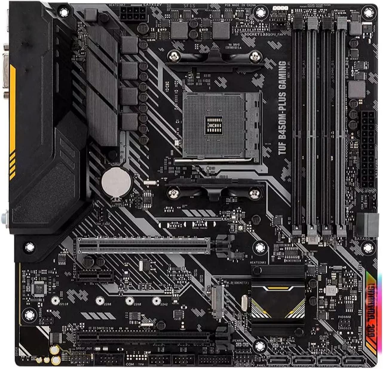 SYFANG Fit for ASUS TUF B450M-PLUS Gaming Placa Base DDR4 M.2 AMD Ryzen Desktop B450 AM4 Placa Base de computadora(Color:A)