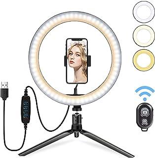 HebyTinco LED Selfie Ringlicht, 10' Selfie Ringleuchte Stativ mit Fernbedienung, Tischringlicht mit 3 Farbe und 10 Helligkeitsstufen für Make up,Live Streaming,YouTube, Tiktok, Vlog und Fotografie