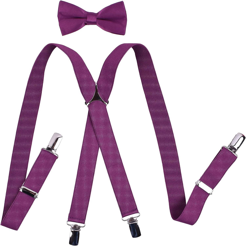 YJDS Men's Suspenders and Bow Tie Set Adjustable X Back