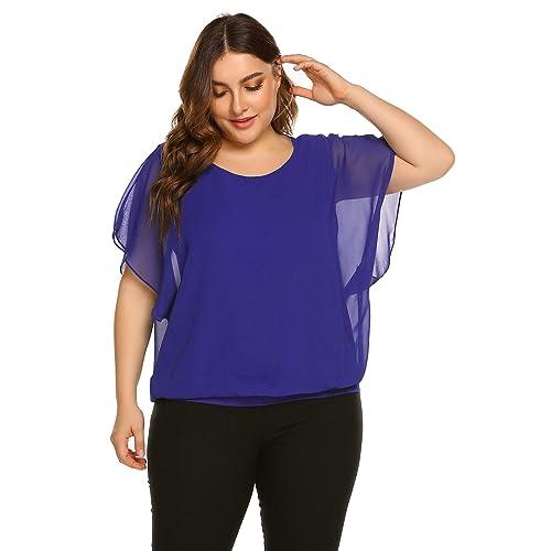 bf26978d58682a Plus Size Women Chiffon Blouse Batwing Sleeve Tops Scoop Neck Tunic Shirts