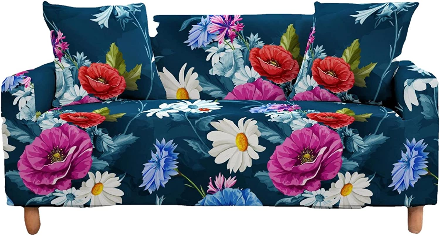 Indianapolis Mall SHUCHANGLE Stretch Sofa Cover Max 79% OFF - Non-Slip Flowers Printed Vintage