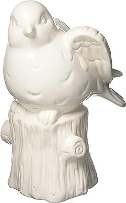 """Urban Trends Ceramic Perching Bird Figurine, 46736, White, 5"""" L x 6.25"""" W x 9.5"""" H"""