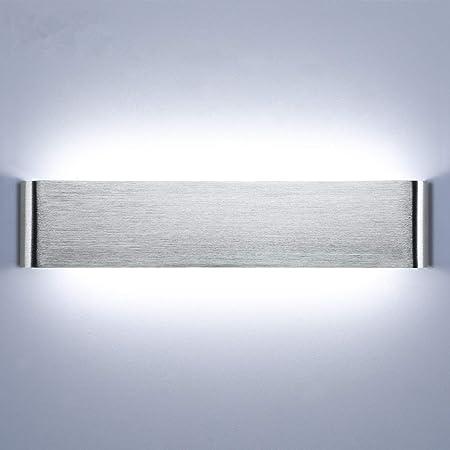 Lightess Applique Murale Intérieur LED 18W 40cm Lampe Murale 6000K Luminaire Mural Moderne IP44 pour Chambre Enfant Salon Escalier Couloir Salle de Bain Hôtel Argent Brossé Blanc Froid