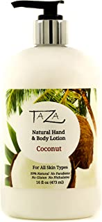 Premium Taza Natural Coconut Hand & Body Lotion, 16 fl oz (473 ml) ♦ Leaves Your Skin Smooth, Soft & Glowing ♦ Contains: Sunflower Seed Oil, Shea Butter, Coconut Oil, Sweet Almond Oil