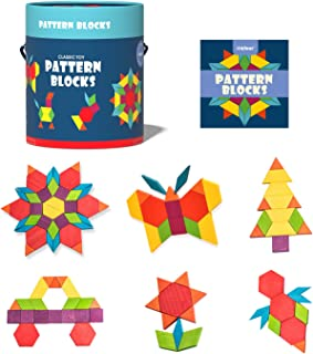 Mideer 250pcs Wooden Pattern Blocks/Shape Jigsaw Puzzles for Kids Ages 4-8,Colorful Tangrams for Children,Montessori Learn...