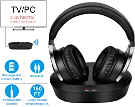 Wireless TV Headphones with 2.4G Digital RF Transmitter, HiFi Stereo Over Ear Cordless Headset for Watching TV, 160Ft Range and Rechargeable 20 Hour Battery