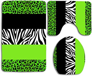 Huayuanhurug Lime Green Animal Print Stripes Zebra Leopard 3pcs Bathroom Rugs Set,Non Slip Absorbent Toilet Seat Cover Bath Mat Lid Cover