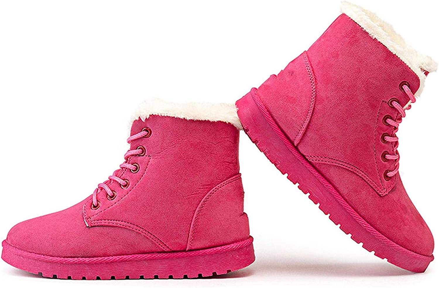 SmarketL Classic Women Winter Boots Suede Ankle Snow Female Warm Fur Plush Insole Boots,Make,Pink,