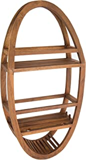 AquaTeak Patented Moa Oval Teak Shower Organizer