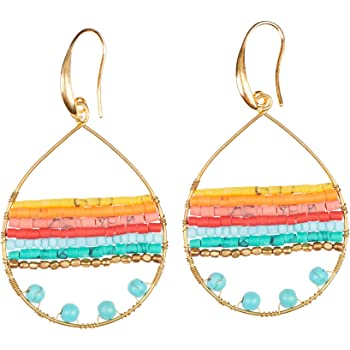 Boho Teardrop Earrings Multi-Color Silver Gold Hoop Earings - Bohemian Jewelry for Women by Akitai