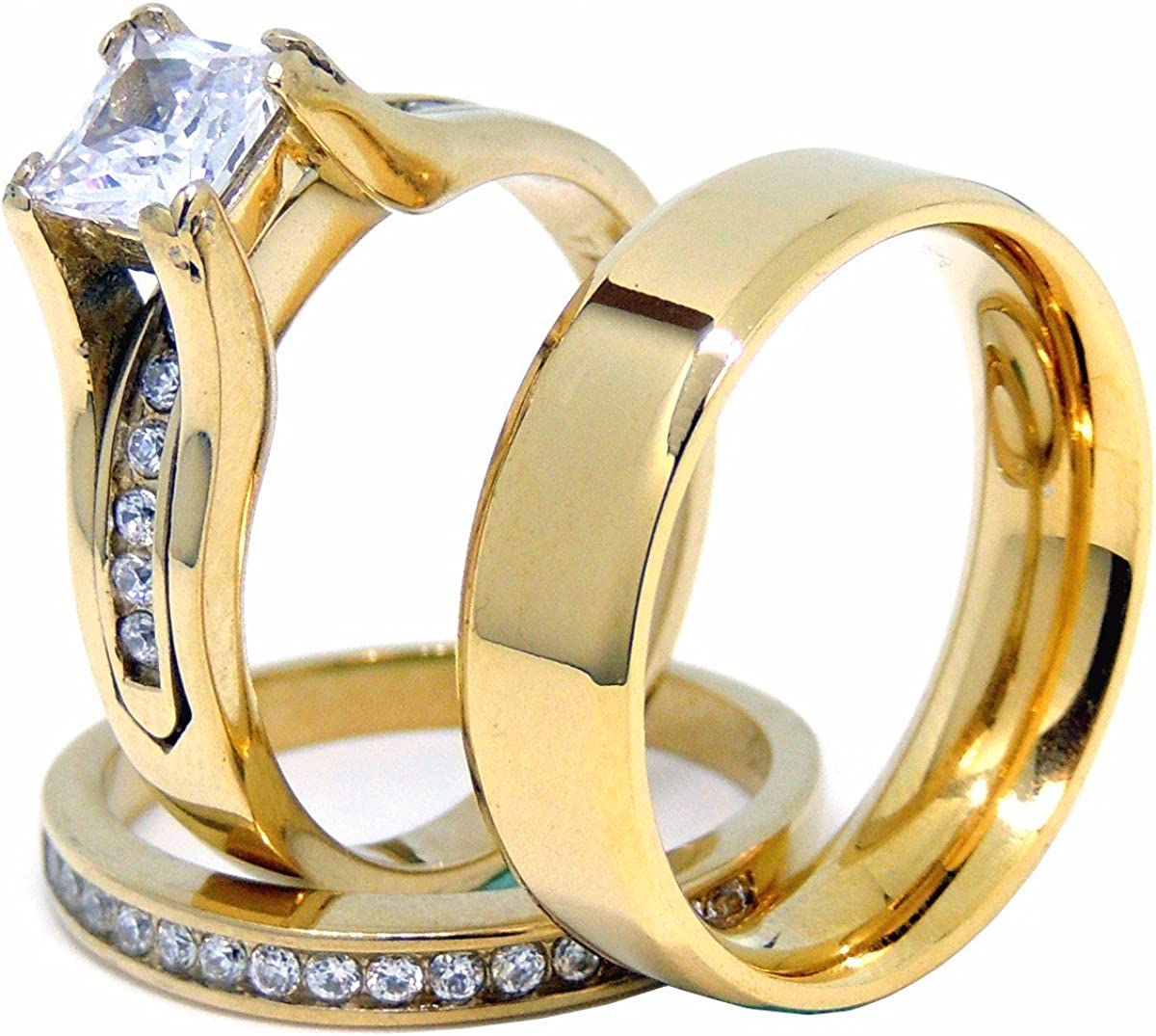 Couples Ring Set Womens 14K Gold Plated Princess CZ Engagement Ring Mens Gold Plated Flat Wedding Band