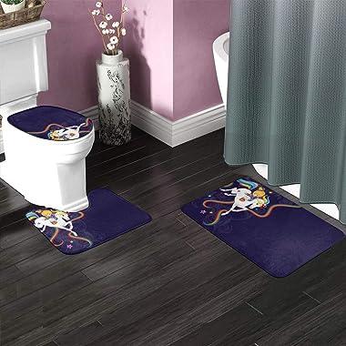 FHDA Rainbow Brite and Starlite Memories 3 Piece Bathroom Rug Set, Anti-Skid Pads Bath Mat + Contour + Toilet Lid Cover