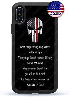Skull Firefighter Bible Verse Christian Slim Shockproof Hard Rubber Custom Case Cover for iPhone 11 Pro Max Xs XR 8 Plus