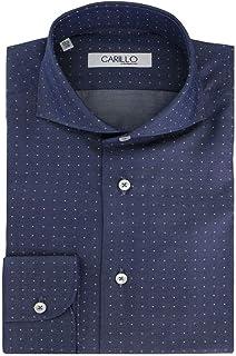 Camicia Uomo Collo Francese Bianca Fantasia Ancore Blu in Cotone