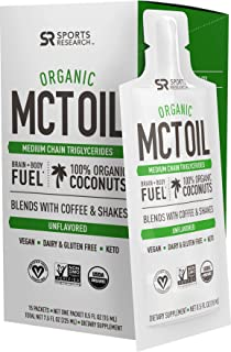Organic MCT Oil Packets derived from ONLY Coconut   Great in Keto Coffee,Tea, Smoothies & Salad Dressings   Non-GMO Project Veified & Vegan Certified - Unflavored (15 Travel Packs)