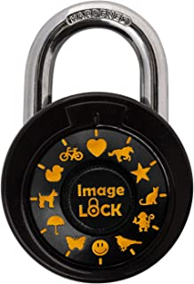 Combination Lock with Pictures- ImageLOCK–Patented Non Reset Combination Lock (No Administrative Key) – Pictures Instead of Numbers –Double-Reinforced Stainless Steel Lock - Orange