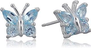 Amazon Collectionarete de tuerca de plata de ley con diseño de mariposa, Azul