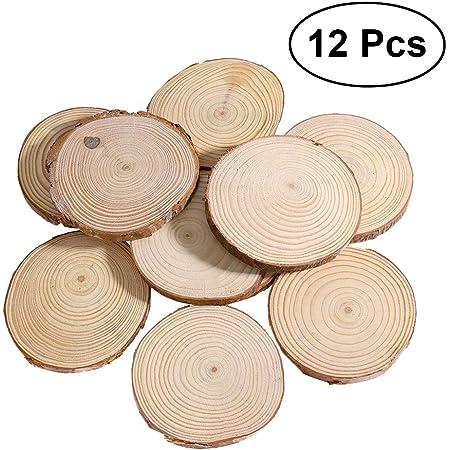 Navidad para bodas decoraci/ón Discos de madera natural manualidades c/írculos de madera 30 unidades de discos de madera sin barnizar discos de madera con agujero SNAGAROG