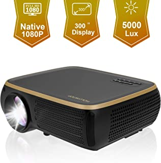 HOLLYWTOP M8 Native 1080P Full HD LED Projector, 5000 Lux HDMI Projector with 300