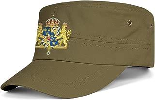Cadet Army Cap Sweden Emblem Swedish Empire Flag Adjustable Baseball Hat Vintage Military Flat Top Cap