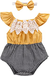 Baby Girl Romper Ruffle Sleeve Lace Plaid Spliced Grid Jumpsuit + Bowknot 2pcs