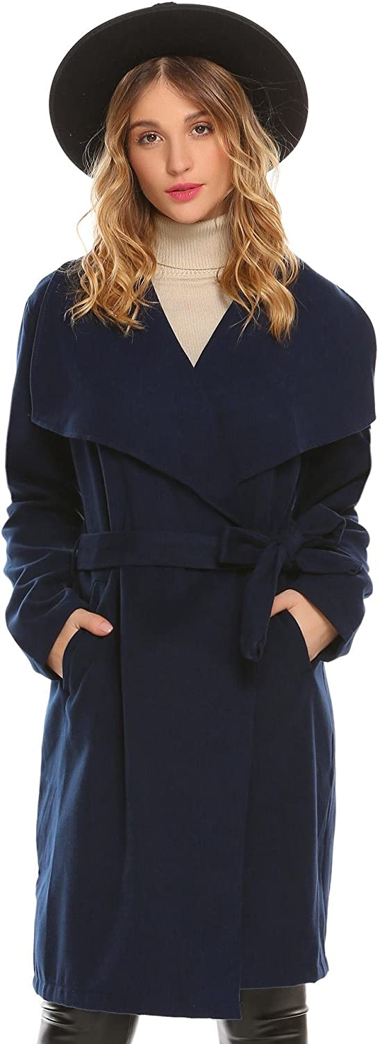 Bifast Women's Warm Wide Lapel 2 Button Solid Casual Long Sleeve Coat with Belt