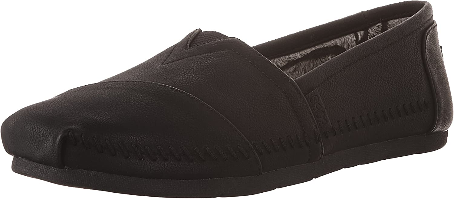 Skechers Women's Luxe Bobs-bluee Skies Vegan Leather Slip-On with Mf Flat