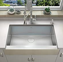 ZUHNE 36-Inch Single Bowl Farmhouse Short Apron Front Stainless Undermount Sink 16-Gauge