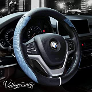 Valleycomfy Steering Wheel Cover with Microfiber Leather for Car Truck SUV 15 inch (Style-Blue)