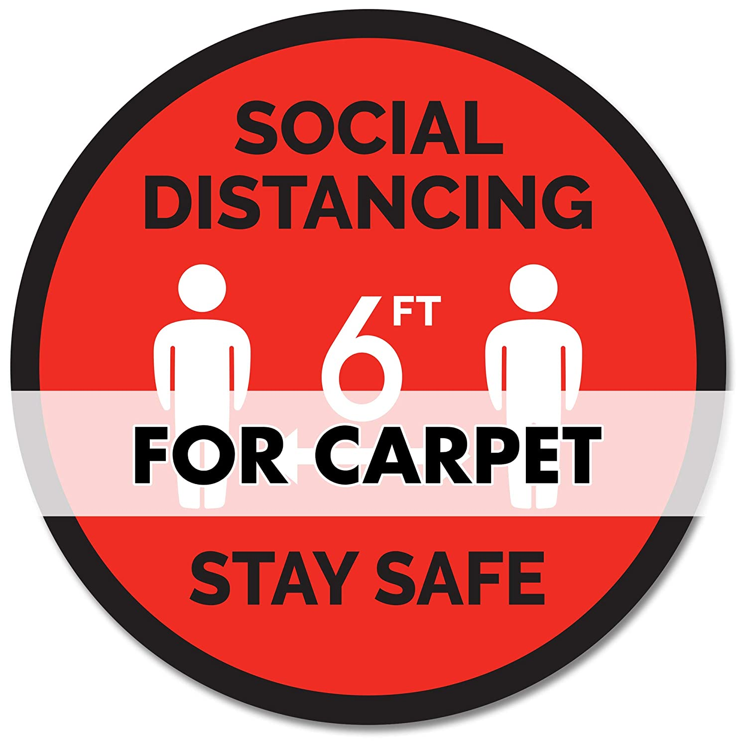 Safety Floor Sign Markers Made in The USA Anti-Slip Red - Stay Safe Social Distancing Carpet Decals Commercial Grade for Carpeting Carpet 12 Round - 12 Pack