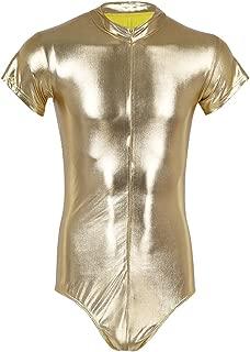 Alvivi Men's Shiny Metallic One Piece Short Sleeves Zipper Leotard Bodysuit Clubwear Costumes