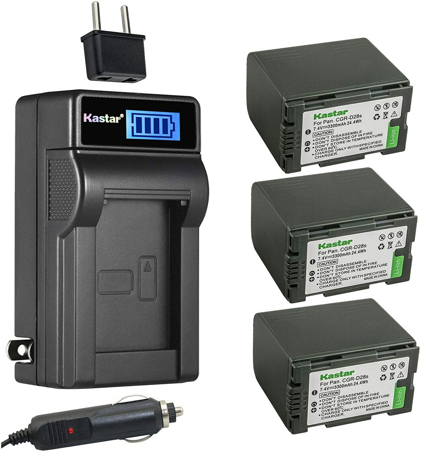 Kastar 3-Pack Max 63% OFF CGR-D28 Battery and Popular popular Compatible AC with Charger LCD