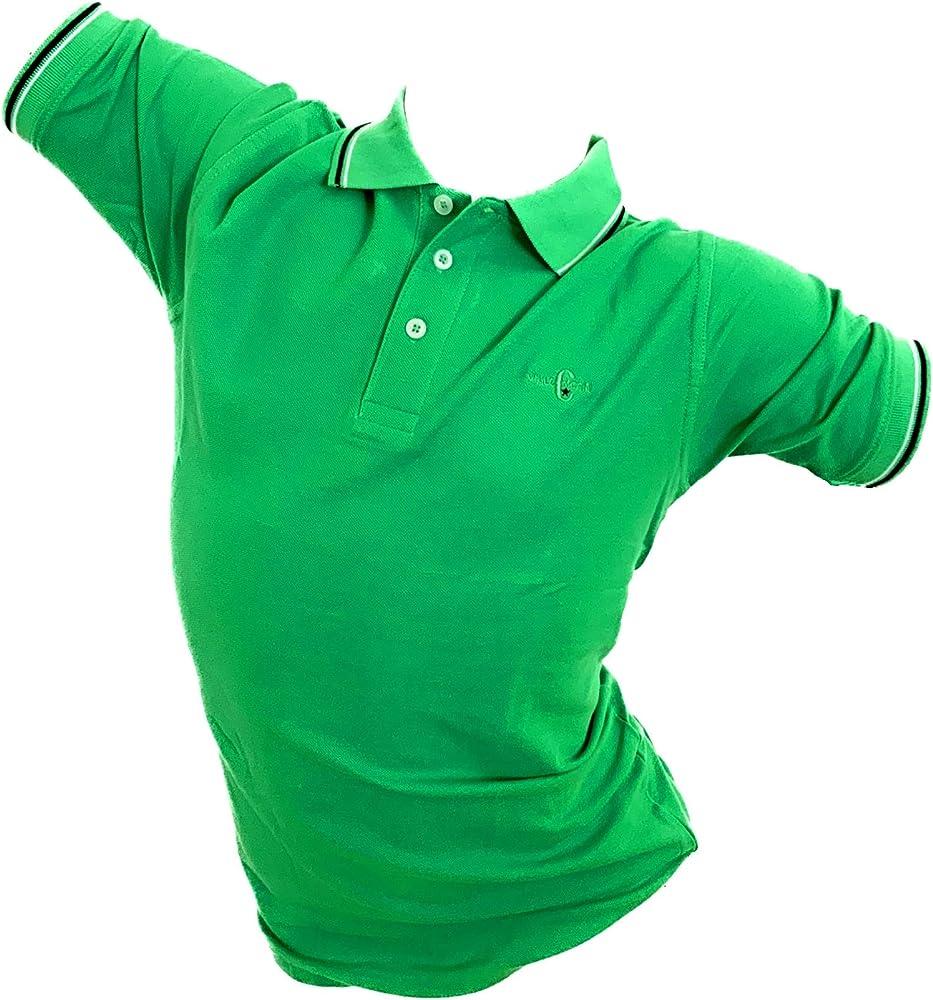 Enrico coveri, polo da uomo, maglietta a maniche corte, 100% cotone, verde chiaro
