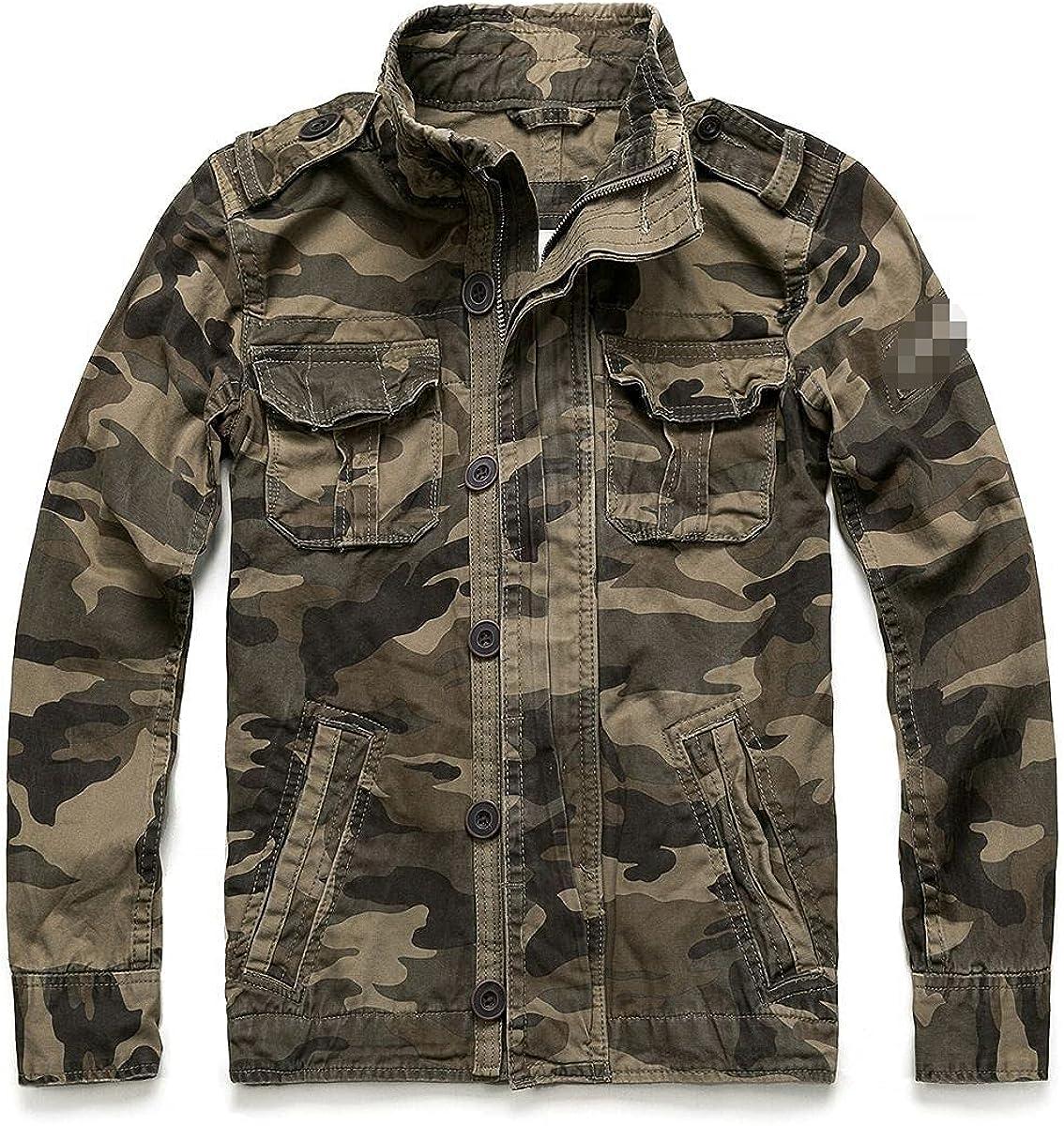 Camouflage Bomber Jacket Men's Retro Military Pocket Denim Jacket Military Coat Casual Men's Cotton