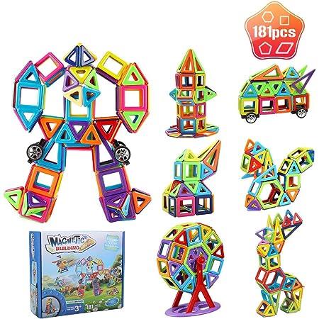 Innoo Tech Bloc de Construction Magnétique Enfant 181 Pièces,Jeux de Construction Aimantés avec Livre D'orientation,Jouet Educatif et Créatif pour Bébés de 3 Ans et Plus,Noël Idéal Cadeau pour Enfants