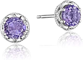 SE24001 Sterling Silver Lilac Blossoms Petite Crescent Crown Amethyst Stud Earrings