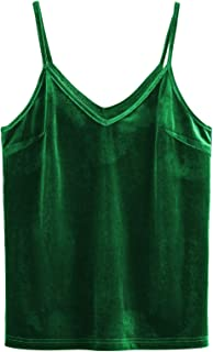 SheIn Women's Casual Basic Strappy Velvet V Neck Cami Tank Top